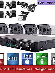 Red de video grabadora sistema kit nvr H.264 de 4 canales (4pcs Mini 1.0MP ONVIF cámara IP a prueba de agua), p2p