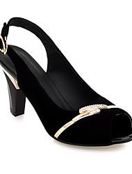Women's Shoes Fleece Chunky Heel Heels/Peep Toe Sandals/Pumps/Heels/Slippers Office & Career/Casual Black/Blue/White