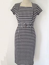 vestido vintage, de manga curta de poliéster na altura do joelho das mulheres