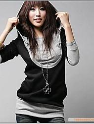 yisala cor do contraste das mulheres moletom com capuz duas peças como blusa