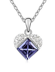 Keep you in Heart Short Necklace Plated with 18K True Platinum Tanzanite Crystallized Austrian Crystal Stones