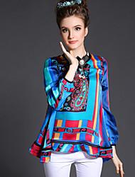 loose ocasional partido impressão colorido plus size camisa de manga comprida blusa top vintage de mola das mulheres