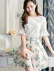 print floral manga curta ocasional eclofox encaixe do vestido