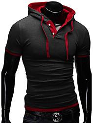Sets Activewear Pour des hommes Manches longues Décontracté Couleur plaine Mélange de Coton