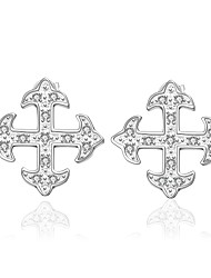 lureme® Fashion Style Silver Plated Cross Shaped with Zircon Stud Earrings