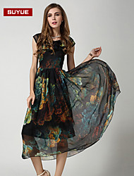 suyue® nueva gasa de la moda clásica vestido maxi sin mangas de la vendimia de las mujeres de la moda