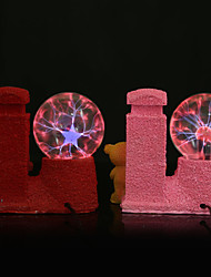 Resin Crystal Ball Lovely Bear Rechargeable LED Lamp (Random Color:Red & Pink)