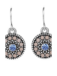 Fashion Flower Shaped Design Shiny Rhinestone Resin Earrings Silver Plated Vintage Dangle Earrings Jewelry for Women