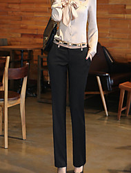 Feminino Cintura Média Inelástico Jeans Calças,Reto Cor Única