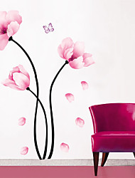 Simple Pink Flower PVC Wall Stickers Wall Art Decals