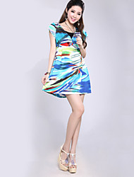 Women's V-Neck Collect Waist Mini Dress