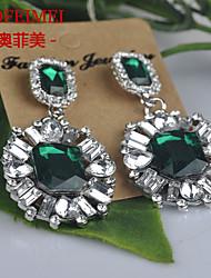 Alloy diamond fashion earrings Europe and large gemstone jewelry ear