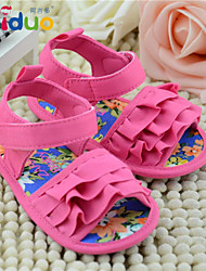 Ajiduo 3-18M Girls Ruffled Sandals Infant Soft Soled Summer Cotton Prewalker Shoes