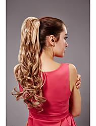 47 centímetros de comprimento linho bb tipo mulheres clip-on fibra sintética cabelo rabo de cavalo encaracolado