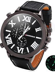 SHIWEIBAO Male Super Circular Quartz Watch With Night-Light Display Big Dial Watch Belt Cool Watch Unique Watch
