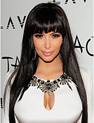 Lace Front Wig Soft Brazilian hair Front lace wig black Straight with Neat Bangs 14-24inches Human Hair Wigs for Women