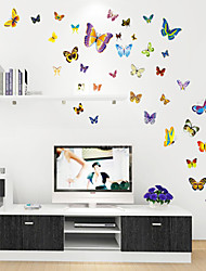 estilo calcomanías de pared pegatinas pared de color de dibujos animados lindo pegatinas de pared de pvc mariposa