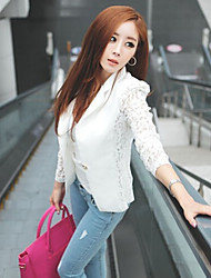Women's Casual/Lace Stand Long Sleeve Coats & Jackets (Cotton/Lace)