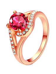 T&C Women's 18k Rose Gold Plated 4 Prong with Shinning Pink Austrian Crystal Engagement Ring