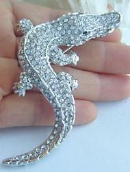 Women Accessories Silver-tone Clear Rhinestone Crystal Alligator Crocodile Brooch Art Deco Crystal Brooch Women Jewelry