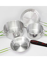 2-3 People Portable Outdoor Cooking Utensils Set Anodised Aluminum Foldable Non-stick Pot Bowl Cookware for Camping