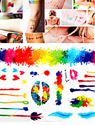 1 PC Tattoo Stickers Watercolor Mixed  for Body Makeup S007