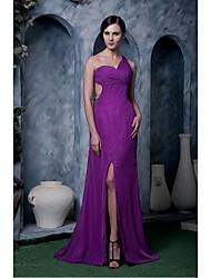 Formal Evening Dress - Grape Plus Sizes / Petite A-line One Shoulder Sweep/Brush Train Chiffon