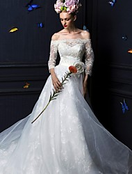 A-line Court Train Wedding Dress -Off-the-shoulder Tulle