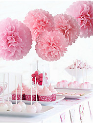 It's Girl Pom Poms - 5pcs Mix 2 Size Tissue Paper Flowers(10inch*3pcs pearl pink & 12inch*2pcs Pink)