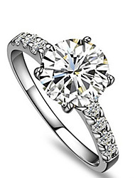 1CT Classical Design Round Cut Excellent SONA Diamond Ring Engagement Women Jewelry Solid Silver Solitaire with Accents