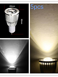 9W GU10 Spot LED MR16 COB 700-750 lm Blanc Chaud / Blanc Froid Gradable AC 100-240 / AC 110-130 V 5 pièces