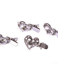 Love-shaped Alloy Barrette With Rhinestone Wedding/Party Headpiece(Set of 4)