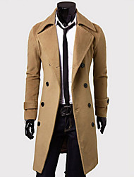 Men's Casual/Work Pure Long Sleeve Long Coat (Cotton/Cotton Blends)