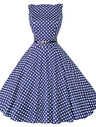 Maggie Tang Women's 50s Vintage Polka Dots Rockabilly Hepburn Pinup Cos Party Swing Dress,Plus Size