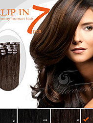 """7 Pieces 18"""" 100g Dark Color Clip in 100% Peruvian Remy Human Hair Ty.Hermenlisa"""