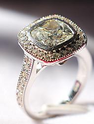 Anéis Mulheres Strass Prata / Pedaço de Platina Prata / Pedaço de Platina 4.0 / 5 / 6 / 7 / 8 / 9 / 10¼ / 11 Como na Imagem