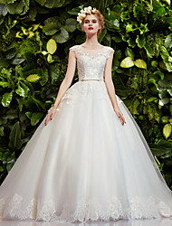 Ball Gown Wedding Dress - White Court Train Bateau Lace/Tulle