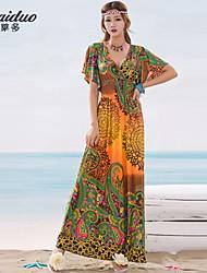 AOLD®Women's Beach/Print/Maxi/Plus Sizes Stretchy Short Sleeve Maxi Beach Dress (Vicose/Lycra)