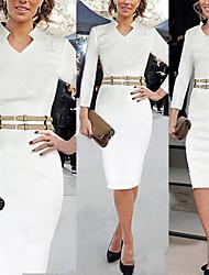 Milliya Women's Vintage/Sexy/Party V-Neck Long Sleeve Dresses (Cotton Blend)