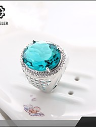 Platinum Plated Blue Cubic Zirconia Statement Ring
