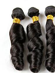 3pcs beaucoup brésiliens rouleau spirale de cheveux vierges naturels noirs couleur # 1b faisceaux de cheveux humains