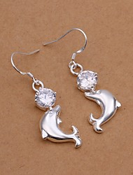 Diamante dauphin argenté blanc plaqué boucles d'oreilles (blanc) (1 paire)