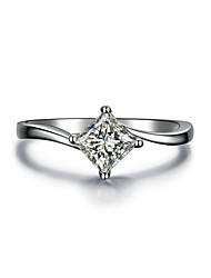 6*6mm 1CT Solitaire Princess Cut Twist Style SONA Diamond Ring for Women Engagement Brand Jewelry S925 Sterling Silver