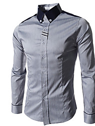 Informeel/Zakelijk Shirt Kraag - MEN - Vrijetijds shirts ( Katoenmengeling )met Lange Mouw