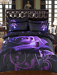 4Pieces Per set Absolutely Beautiful Purple Rose And Print 3D Bedding Set Very New Style