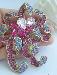 Women Accessories Gold-tone Multicolor Rhinestone Crystal Flower Brooch Art Deco Crystal Brooch Bouquet Women Jewelry