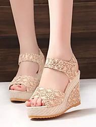 Sakura Women's Shoes Black/Almond Wedge Heel 6-9cm Sandals