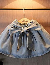 Girls Super Western Style Bow Waist Washed Denim Skirts