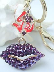 Charming Sexy Lip Key Chain With Purple Rhinestone Crystals