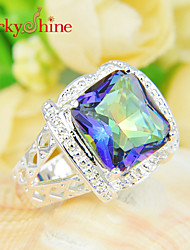 Lucky Shine Unisex Silver Rings With Gemstone Shine Square Colored Mystic Topaz Crystal